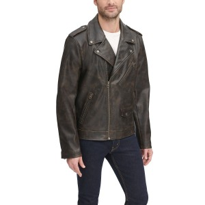 Mens Washed Faux Leather Asymmetrical Motorcycle Jacket