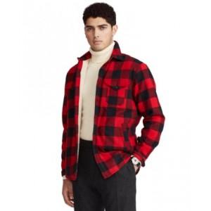 Mens Classic-Fit Fleece-Lined Plaid Overshirt