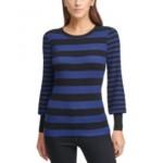 Striped Balloon-Sleeve Sweater