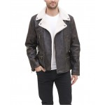 Mens Sherpa Lined Asymmetrical Faux Leather Motorcycle Jacket, Created for Macys