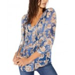 Pintucked Floral-Print Blouson Top