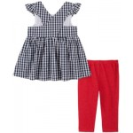 Little Girls 2-Piece Flare Gingham Tunic and Capri Jeggings Set