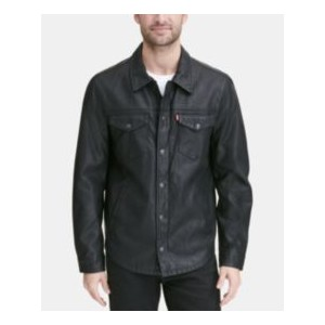 Mens Faux Leather Shirt Jacket