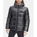 Mens Pearlized Performance Hooded Puffer Coat