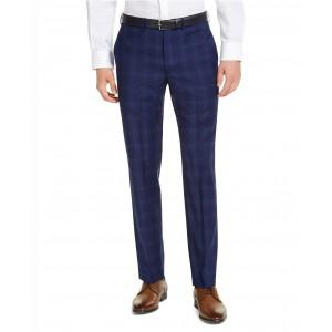 Mens Slim-Fit Stretch Blue Plaid Suit Pants