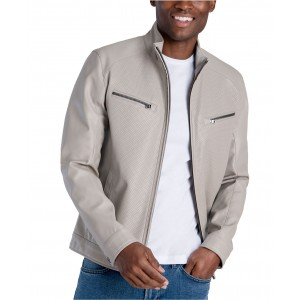 Mens Perforated Faux Leather Hipster Jacket, Created for Macys