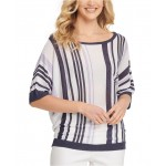 Striped Elbow-Sleeve Top