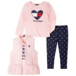 Little Girls Vest with Long Sleeve T-shirt and Print Legging Set, 3 Pieces