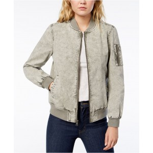 Acid Washed Cotton Bomber Jacket