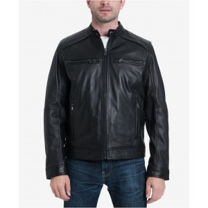 Michael Kors Mens Big & Tall Perforated Moto Leather Jacket, Created for Macys