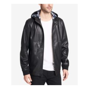 Mens Faux-Leather Perforated Hooded Jacket