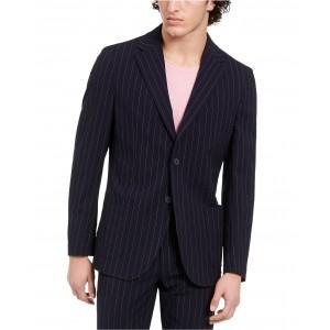 Mens Slim-Fit Stretch Navy Blue Seersucker Stripe Suit Jacket