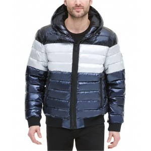 Mens Quilted Pearlized Nylon Hooded Bomber Jacket, Created for Macys