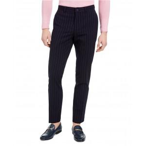 Mens Slim-Fit Stretch Navy Blue Seersucker Stripe Suit Pants