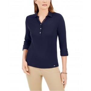 3/4-Sleeve Button Neck Shirt