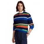 Mens Striped Cotton Crewneck Sweater