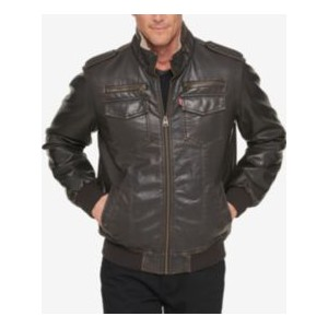Mens Faux-Leather Aviator Bomber Jacket with Fleece Lining