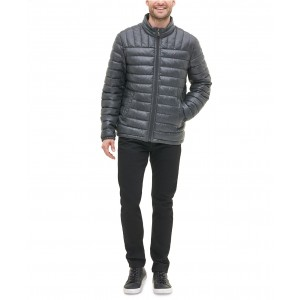 Mens Quilted Faux Leather Puffer Jacket