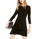 Sequin Jacquard Tiered-Hem A-Line Dress, Regular & Petite