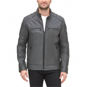 Mens Leather Racer Jacket, Created for Macys