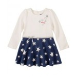 Little Girls White & Blue Dress