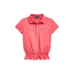 Toddler and Little Girls Smocked Stretch Mesh Polo Shirt
