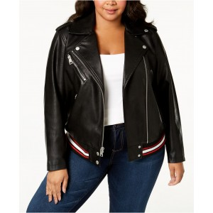Plus Size Faux-Leather Moto Jacket