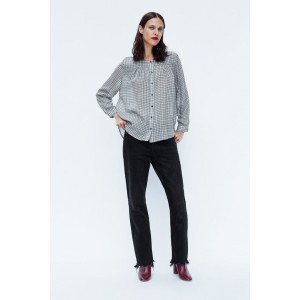 PLAID BLOUSE WITH GATHERING