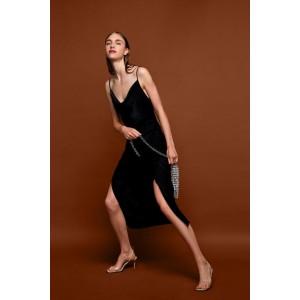 DRAPED LINGERIE-STYLE SATIN DRESS