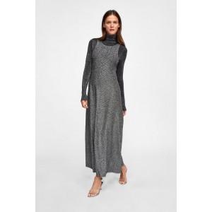HERRINGBONE JACQUARD DRESS WITH METALLIC THREAD