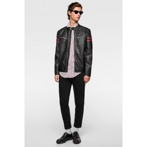 FAUX LEATHER BIKER JACKET WITH STRIPES