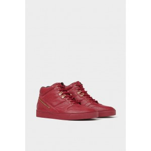 RED HIGH TOP SNEAKERS WITH GOLD DETAILS