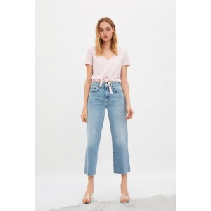WASHED EFFECT KNOTTED T-SHIRT