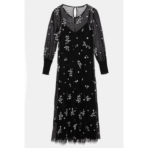 자라 FLORAL EMBROIDERED TULLE DRESS