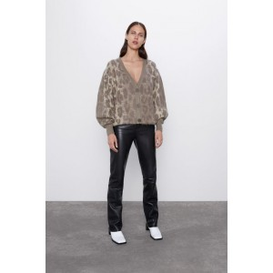 LONG ANIMAL PRINT JACQUARD JACKET