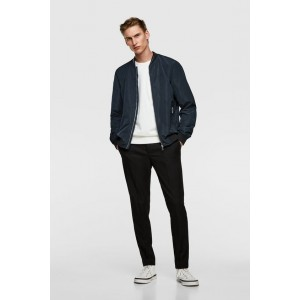 BOMBER JACKET WITH CONTRASTING COLLAR