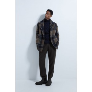 TEXTURED PLAID CAR COAT