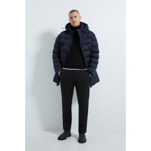 HOODED THREE QUARTER LENGTH PUFFER JACKET