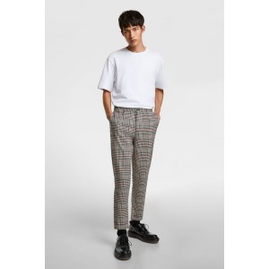 PLAID TAPERED FIT CROPPED PANTS