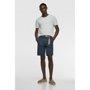 TEXTURED WEAVE SHORTS WITH BELT