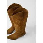 SPLIT LEATHER HEELED COWBOY BOOTS
