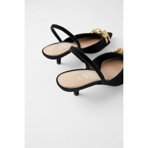 SLINGBACK KITTEN HEEL SHOES WITH METAL DETAIL