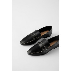SOFT LEATHER LOAFERS WITH MICRO STUDS