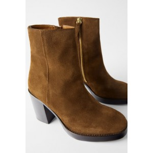 WOOD HEEL LEATHER ANKLE BOOTS