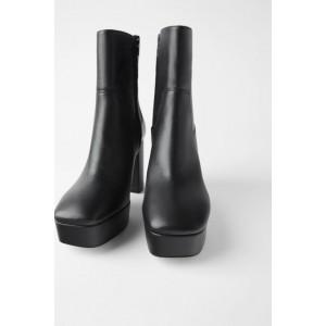 PLATFORM LEATHER HIGH-HEEL ANKLE BOOTS