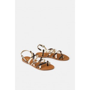 NATURAL LEATHER FLAT SANDALS WITH STRAPS
