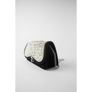 CROSSBODY BAG WITH PEARL TRIM FLAP