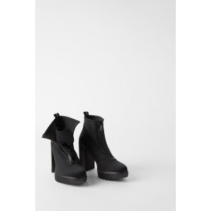 HEELED LUG SOLE ANKLE BOOTS WITH ZIP