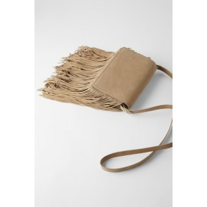 SPLIT LEATHER FRINGED CROSSBODY BAG
