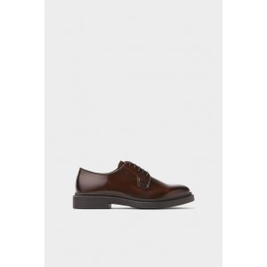 BROWN GLOSSY LEATHER SHOES
